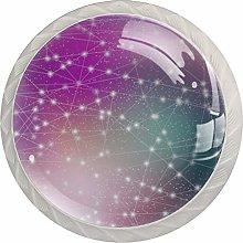Galaxy Star Purple 4 Pieces Crystal Glass Wardrobe