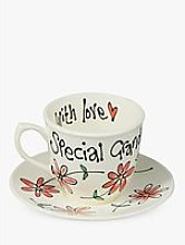 Gallery Thea Personalised Coral Daisy Tea Cup and
