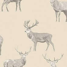 Galloway Linen Stag Deer Animal Country Wallpaper