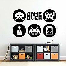 Game Over Wall Sticker Video Gamer Sign Joystick