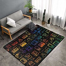 Game Video Gaming Pattern Black Area Rugs, Bedroom