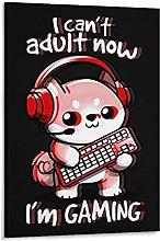 Gamer Cant Adult Fun Retro Art Canvas Art Poster