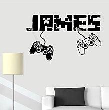 Gamer Custom Name Wall Sticker Boy Controller
