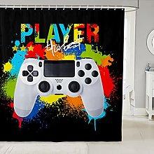 Gamer Shower Curtain for Boys Teens Kids Girls