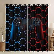Gaming Curtain For Boys Game Room Decor Hexagon