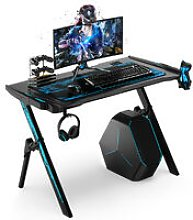 Gaming Desk Computer Table RGB LED Lights W/ Cup