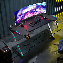 Gaming Desk with LED Lights Large Z-Shaped Office