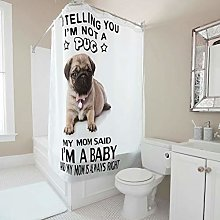 Gamoii Baby Pug Dog Sayings Shower Curtain