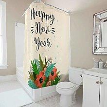 Gamoii Happy New Year Flowers Shower Curtain