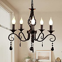 Ganeed French Country Chandeliers,5 Lights Black
