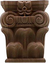 Gaodpz Unpainted Wood Oak Carved Wave Flower Onlay