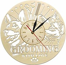 Gaojian Pets wood Wall clock for grooming bedroom