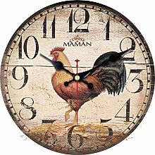 Gaojian Vintage rooster wall clock retro art clock