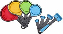Gaoominy 8 x Silicone Measuring Cups Set Spoon