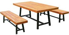 Garden 3 Pieces Acacia Wood Picnic Table and 2