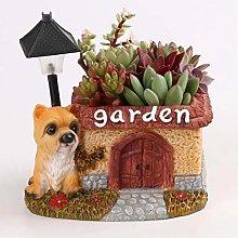 Garden Animal Statue LED Cute Dog Succulent Flower