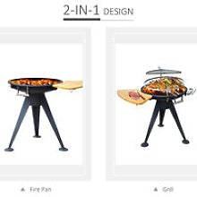 Garden Barbecue Double Grill Patio Firepit Outdoor