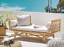 Garden Bench Beige Rattan Chaise Lounge with White
