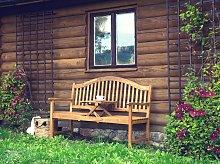 Garden Bench Light Acacia Wood Outdoor 3 Seater