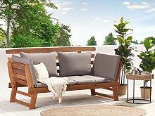 Garden Bench Light Eucalyptus Wood Grey Cushions