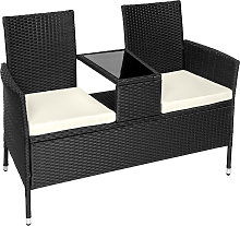 Garden bench with table poly rattan - black