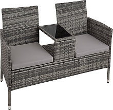Garden bench with table poly rattan - grey