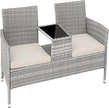 Garden bench with table poly rattan - light grey