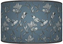 Garden Birds Blue Grey Giclee Style Printed Fabric