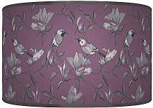 Garden Birds Purple Grey Giclee Style Printed