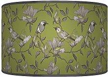 Garden BirdsGreen Grey Giclee Style Printed Fabric