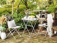 Garden Bistro Table Beige Metal Round Shabby Chic