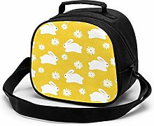 Garden Bunny Yellow Pattern Insulated Lunch Bag
