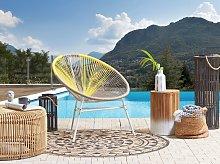 Garden Chair Beige with Yellow PE Rattan Papasan
