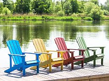 Garden Chair Blue Plastic Wood Weather Resistant