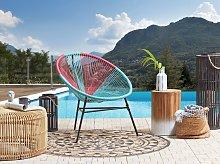 Garden Chair Blue with Pink PE Rattan Papasan