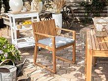Garden Chair Brown Acacia Wood with Seat Cushion