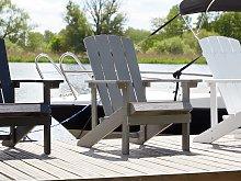 Garden Chair Dark Grey Plastic Wood Weather