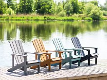 Garden Chair Turquoise Plastic Wood Weather