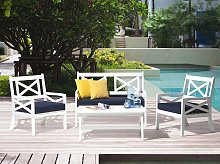 Garden Chair White Acacia Wood with Blue Seat