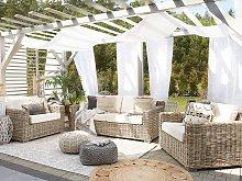 Garden Conversation Set Brown with White Cushions