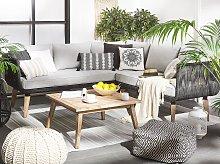 Garden Conversation Set Grey Rope Corner Sofa