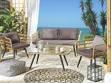 Garden Conversation Sofa Set Beige Faux Rattan