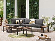 Garden Corner Sofa Set Grey Cushions Slatted