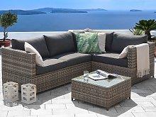 Garden Corner Sofa Set Grey Rattan with Cushions