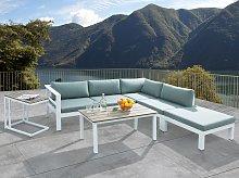 Garden Corner Sofa Set White with Green Cushions 5