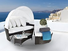 Garden Daybed White and Brown Rattan Wicker with