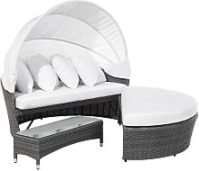 Garden Daybed with Coffee Table Grey SYLT LUX