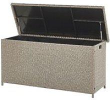 Garden Deck PE Rattan Storage Box Beige 126 x 46