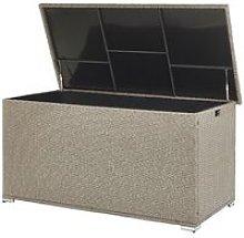 Garden Deck PE Rattan Storage Box Beige 155 x 75