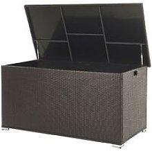 Garden Deck PE Rattan Storage Box Brown 155 x 75